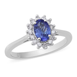 Premium Tanzanite (Ovl) and Diamond Ring in Rhodium Overlay Sterling Silver 1.00 Ct