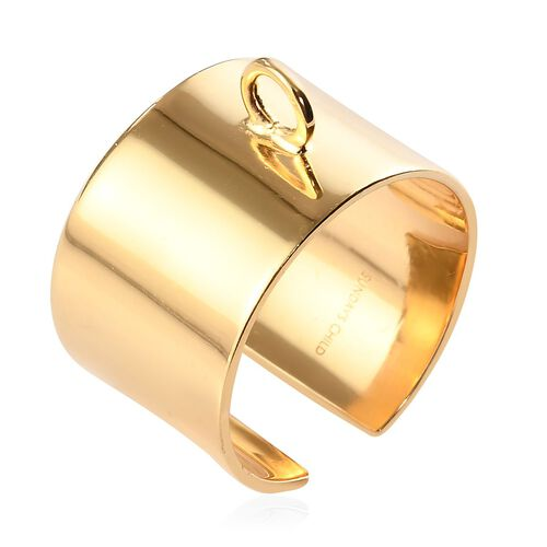 Sundays Child - Yellow Gold Overlay Sterling Silver Open Band Ring, Silver wt. 4.60 Gms