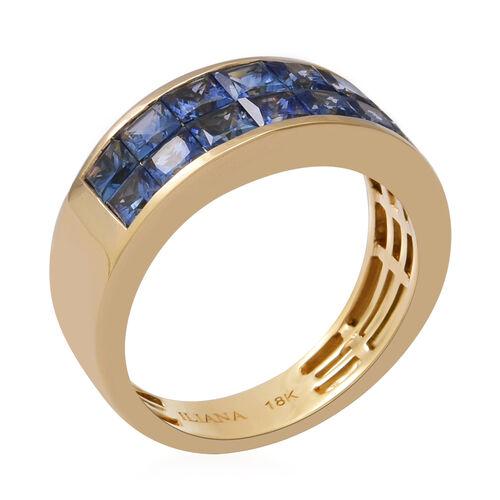 ILIANA 18K Yellow Gold AAAA Royal Ceylon Sapphire Two Row Half Eternity Ring 2.03 Ct, Gold wt. 4.05 Gms