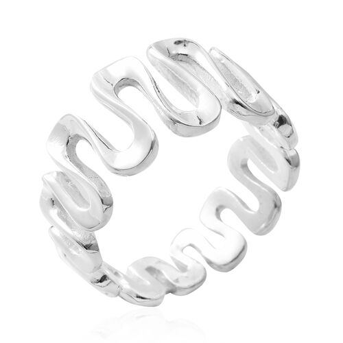 Designer Inspired-Sterling Silver Wavy Ring, Silver wt 5.40 Gms