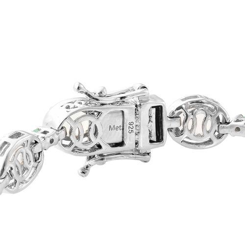 Ethiopian Welo Opal (Ovl), Kagem Zambian Emerald Bracelet (Size 7.5) in Platinum Overlay Sterling Silver 8.000 Ct, Silver wt 14.33 Gms