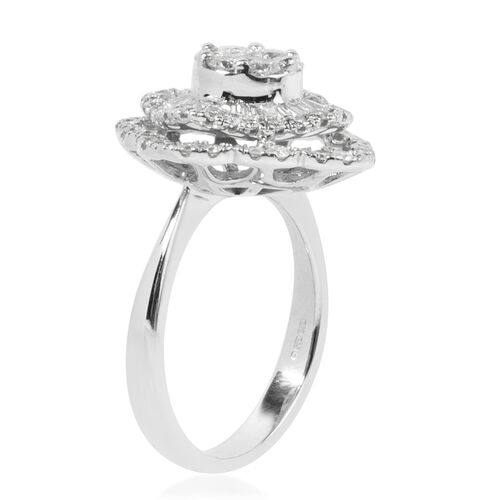 New York Close Out 14K White Gold Diamond (Rnd and Bgt) (I1-I2) Ring 1.400 Ct, Gold wt 5.90 Gms.