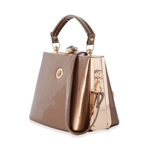 Boutique Collection High Glossed Vintage Style Golden Colour Evening Bag with Adjustable and Removable Shoulder Strap (Size 22x18x14 Cm)