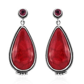 Royal Bali Collection Sponge Coral and African Ruby Earrings in Sterling Silver 1.451Ct, Silver wt 5.91 Gms