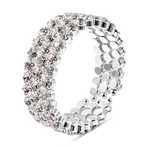 'Austrian White Crystal Bangle (size 6.5) In Silver Tone
