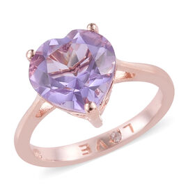 Rose De France Amethyst (Hrt 10 mm), Natural Cambodian Zircon Heart Ring in Rose Gold Overlay Sterling Silver 3.250 Ct.