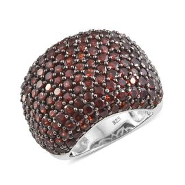 Limited Edition- Mozambique Garnet Pave Setting Cocktail Ring in Platinum Overlay Sterling Silver 8.