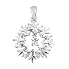 J Francis Platinum Overlay Sterling Silver Snowflake Pendant Made with SWAROVSKI ZIRCONIA