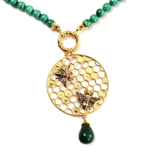 Sundays Child - Malachite Drop and Beaded Detachable Necklace in 14K Gold Overlay Sterling Silver 140.00 Ct, Silver wt. 5.52 Gms