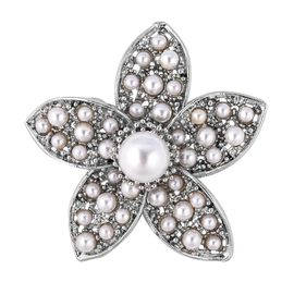 Simulated Pearl Floral Design Brooch