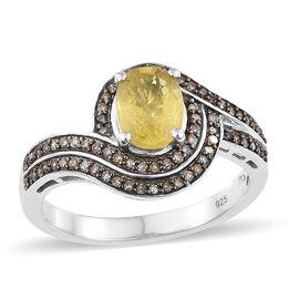 Chanthaburi Yellow Sapphire (Ovl 1.40 Ct), Natural Champagne Diamond Ring in Platinum Overlay Sterli