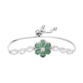 4 Carat Malachite and White Topaz Floral Adjustable Bracelet  in