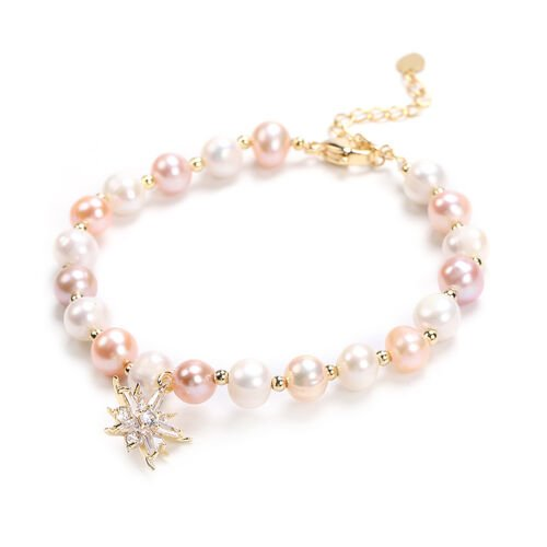 Multi Colour Freshwater Pearl and Simulated Diamond Star Charm Bracelet (Size 7.5 with 1.5 inch Extender) in Yellow Gold Tone