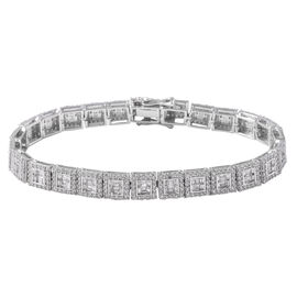 Close Out Deal- 14K White Gold SGL Certified Diamond (I1-I2/GH) (Bgt) Bracelet (Size 7.5) 5.00 Ct, G