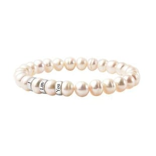 """Personalised Engravable Fresh Water Pearl and 3 ring Bracelet,Size 7"""" in Silver"""