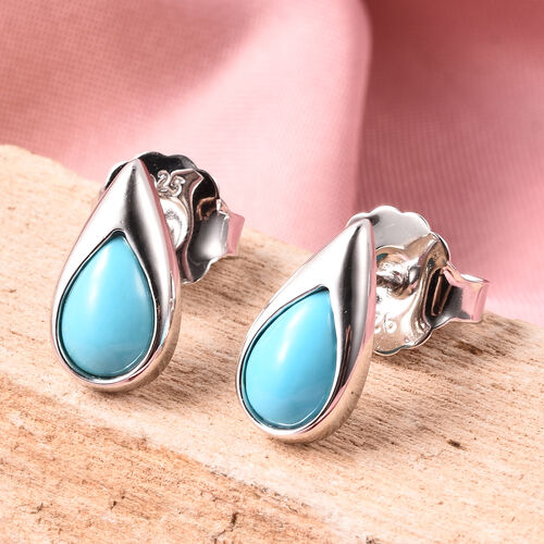 LucyQ AAA Arizona Sleeping Beauty Turquoise Drop Stud Earrings (with Push Back) in Rhodium Overlay Sterling Silver 2.06 Ct.