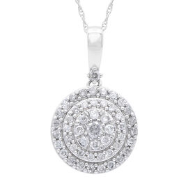 NY Close Out Deal- 10K White Gold Diamond (I2/G-H) Pendant with Chain (Size 18) 0.50 Ct.