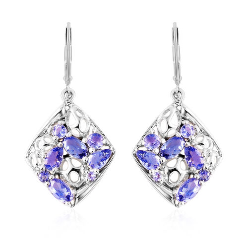 RACHEL GALLEY Misto Collection - Tanzanite Lattice Lever Back Earrings in Rhodium Overlay Sterling S