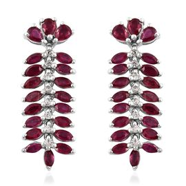African Ruby, Natural Cambodian Zircon Earrings (with Push Back) in Platinum Overlay Sterling Silver