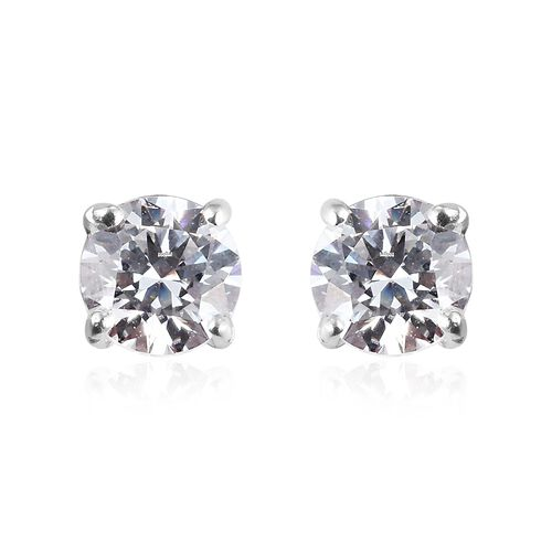 Super Find - 2 Piece Set - J Francis Sterling Silver Stud Earrings (with Push Back) and Solitaire Ring Made with SWAROVSKI ZIRCONIA