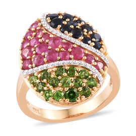 African Ruby (Rnd), Russian Diopside and Kanchanaburi Blue Sapphire Ring in 14K Gold Overlay Sterlin