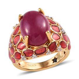 GP 10.25 Ct African Ruby and Cambodian Zircon with Multi Gemstones Solitaire Design Ring in Silver