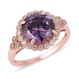 ELANZA Simulated Amethyst (Rnd), Simulated Diamond Ring in Rose Gold Overlay Sterling Silver 5.46 Ct