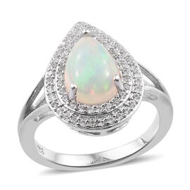 1.75 Ct Ethiopian Opal and Cambodian Zircon Halo Ring in Platinum Plated Sterling Silver