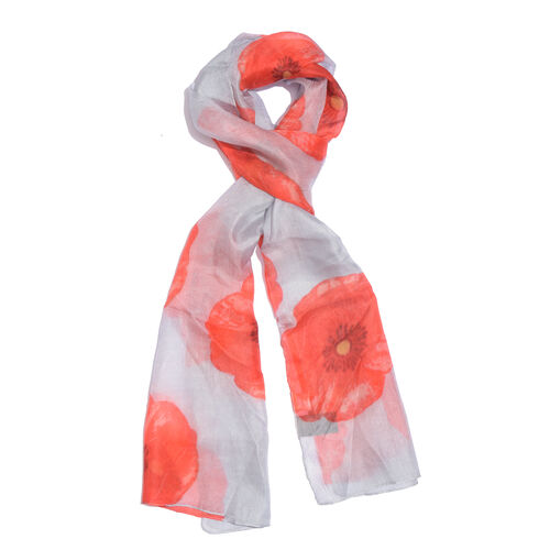 100% Mulberry Silk Red Floral Pattern Grey Colour Scarf (Size 180X50 Cm)