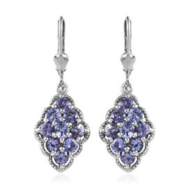 Tanzanite (Rnd and Ovl) Lever Back Earrings in Platinum Overlay Sterling Silver 2.25 Ct.