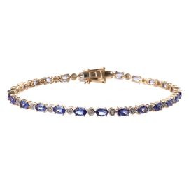9K Yellow Gold  Tanzanite (Ovl 5x3 mm), Diamond Bracelet (Size 8) 6.15 Ct, Gold wt 7.15 Gms
