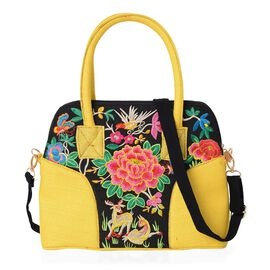 Yellow and Multicolour Flower Embroidery Pattern Tote Bag (Size 32x10.5x25 Cm) with Detachable Shoul
