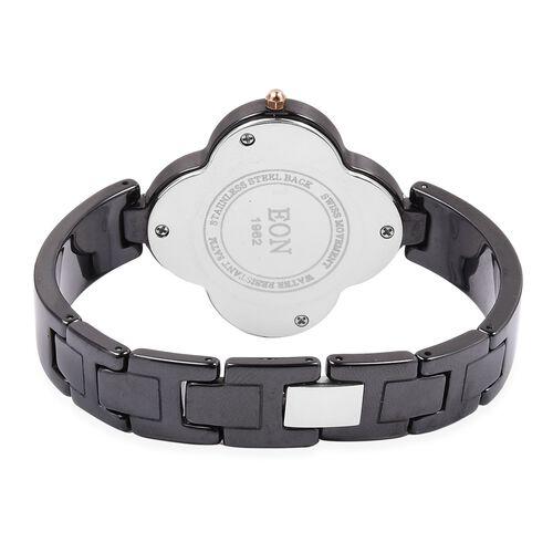 EON 1962 Diamond Swiss Movement Clover Black HighTech Ceramic Watch -30 Mts Water Resistance