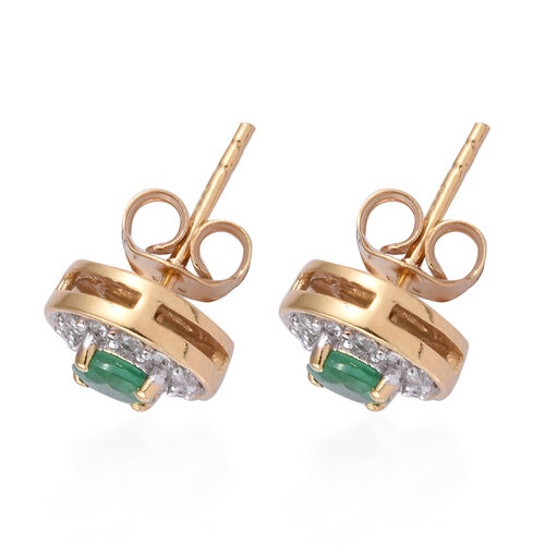 Brazilian Emerald (Rnd), Natural Cambodian Zircon Stud Earrings (with Push Back) in 14K Gold Overlay Sterling Silver 1.000 Ct.