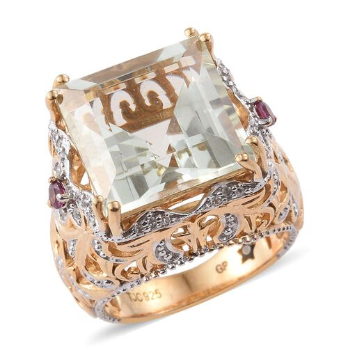 GP Green Amethyst (Sqr), Rhodolite Garnet, Natural Cambodian Zircon and Kanchanaburi Blue Sapphire Ring in 14K Gold Overlay Sterling Silver 13.500 Ct.