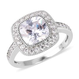 ELANZA Simulated Diamond (Cush and Rnd) Ring (Size T) in Rhodium Overlay Sterling Silver, Silver wt 3.15 Gms.