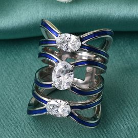 J Francis Platinum Overlay Sterling Silver Enamelled Ring Made with SWAROVSKI ZIRCONIA 4.11 Ct, Silver wt. 12.6 Gms