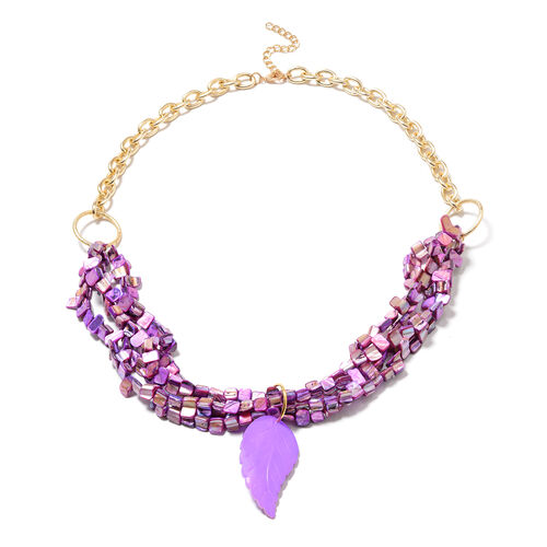 Leaf Carved Purple Shell Beaded Necklace in Yellow Gold Tone 32 with 3 inch Extender