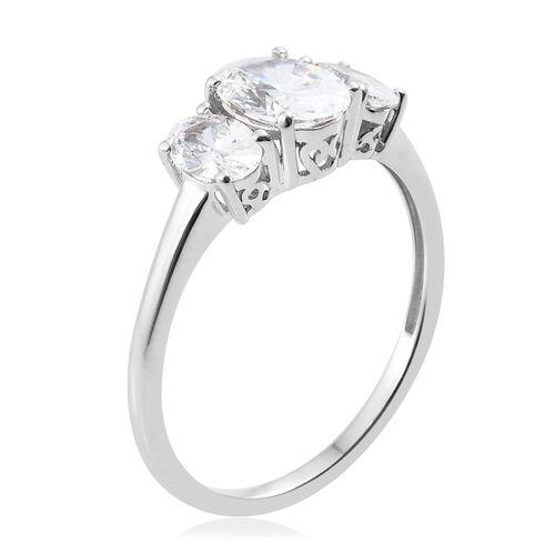 J Francis - 9K White Gold (Ovl) 3 Stone Ring Made with SWAROVSKI ZIRCONIA