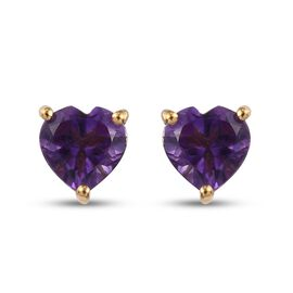Amethyst Heart Stud Earrings (with Push Back) in 14K Gold Overlay Sterling Silver 1.42 Ct.
