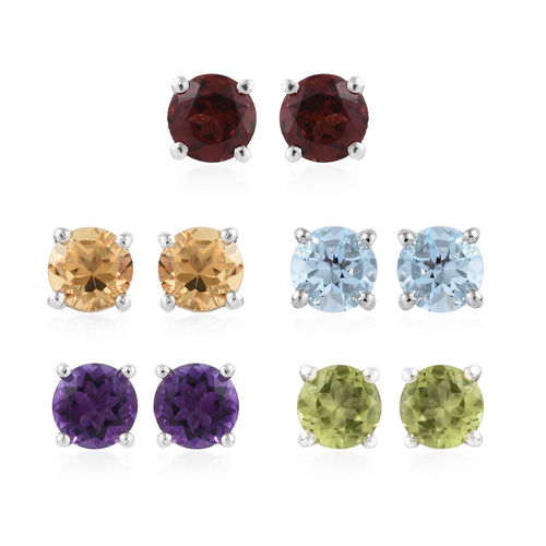 Set of 5 Multi Gem Stone (Rnd) Stud Earrings (with Push Back) in Platinum Overlay Sterling Silver 5.