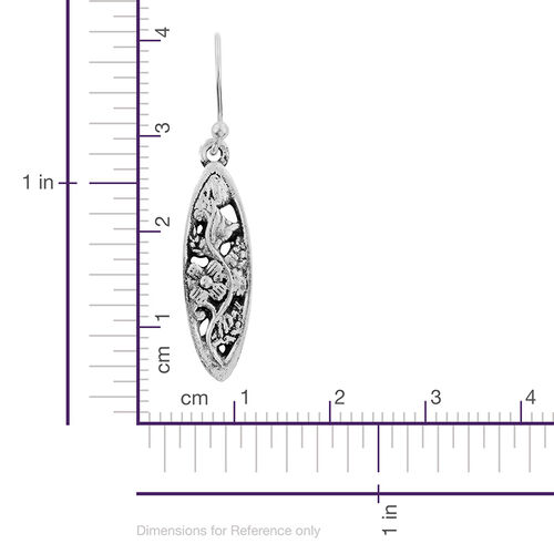 Sterling Silver Floral and Leaves Hook Earrings, Silver Wt 5.20 Gms.