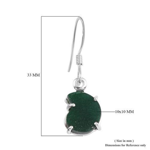 Green Aventurine Hook Earrings in Sterling Silver 5.00 Ct
