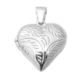 Engraved Heart Locket Pendant in Sterling Silver 16.77 Grams