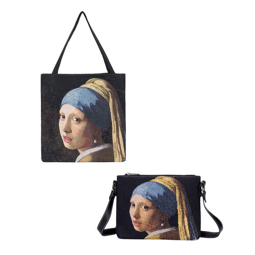 Signare Tapestry - 2 Piece Set - J. Vermeer Art Girl with a Pearl Earring Crossbody Bag (33x8x34cm)