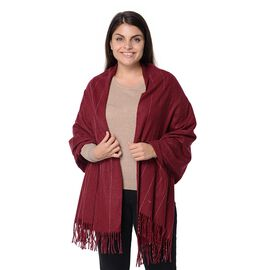 Wool Blend Stripe Pattern Winter Scarf with Tassels (Size 70x180 Cm) - Wine