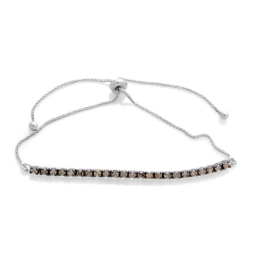 Natural Champagne Diamond (Rnd) Adjustable Bracelet (Size 6.5 to 8) in Platinum Overlay Sterling Silver 1.000 Ct.