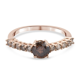 9K Rose Gold SGL Certified Natural Champagne Diamond (I3) Ring 1.08 Ct.