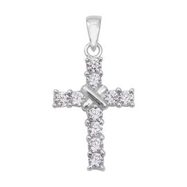 Simulated Diamond Cross Pendant in Rhodium Plated Sterling Silver