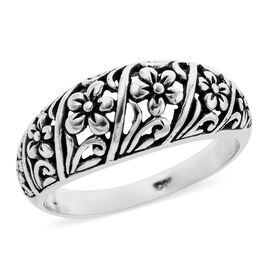 Royal Bali Collection Floral Band Ring in Sterling Silver 3.53 Grams